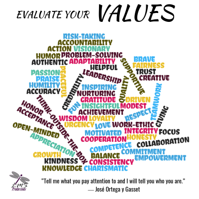 EVALUATE YOUR VALUES Word Cloud Exercise